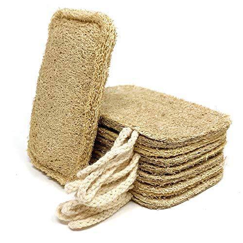 Spugna eco naturale per lavastoviglie (8 pz) | Spugna di luffa ecologica, senza plastica, biodegradabile. Spugna da cucina riutilizzabile, anche per raschiare il cocco! Bagnarla prima dell'uso