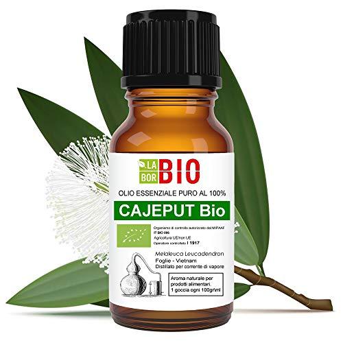 Olio essenziale Cajeput Bio - 100% Puro per Uso interno Terapeutico Alimentare Diffusori Aromaterapia Cosmetica - 10 ml LaborBio