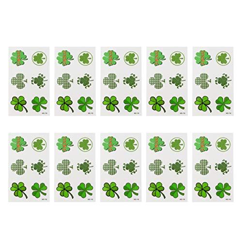 Amosfun 10 Fogli di Adesivi per Tatuaggi Temporanei di Quadrifogli con Quadrifogli Irlandesi per Ir. Patricks Day Trifoglio Irlandese Shamrock Accessori per La Decorazione Del Partito