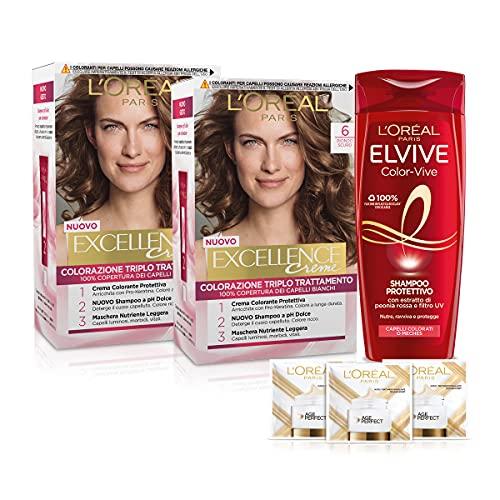 L'Oréal Paris Cofanetto Colorazione Color&Care, Include 2 Tinta Capelli Excellence Biondo Scuro 6 e 1 Shampoo per Capelli Colorati Elvive Color Vive