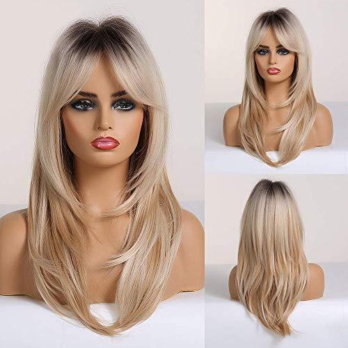 Fovermo Parrucca capelli naturali biondo Ombre per donne Drak Root con parte centrale…