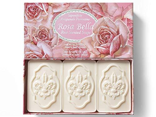 Saponificio Artigianale Fiorentino, Rosa Bella, set di 3 saponette da 125 g
