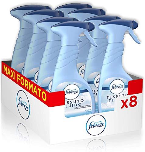Febreze Spray Deodorante Per Tessuti, Elimina Gli Odori Dai Tessuti Difficili Da Lavare, Freschezza Classica, 8 Confezioni x 500 ml