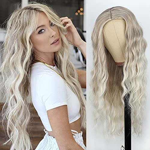 PORSMEER Parrucche ombre bionde marrone ricce lunghe Parrucche sintetiche a spalla per donne di Cosplay del partito