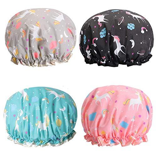 Cuffia da Doccia BESLIME Motivo Unicorno cuffia per doccia riutilizzabili impermeabile Cuffia per Elastica Grande Shower Caps per Donna Cucina Spa Doccia