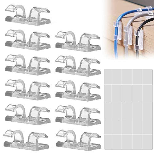100 Pack Transparent Transparent Cable Clips, Strong Self-Adhesive Cable Drop Wire Holder, Durable Mount-Round Plastic Cord Management Organiser Clamps for Home and Office