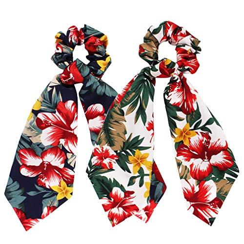 PRETYZOOM 2 pezzi. Sciarpa per capelli, fascia per capelli, collo, elastico per capelli, decorazione floreale, con manico hawaiano, accessorio per capelli da donna (bianco marino)