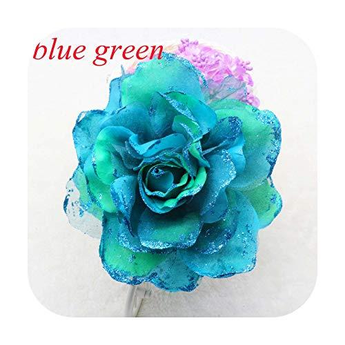 Art Flower 15 Cm Argento Nuovo Romantico Glitter Rosa Copricapo Corpetto Fascia per Capelli Polso Fiore Spilla Clip Festa Matrimonio Prom-E