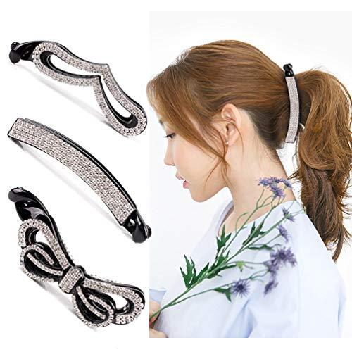 Beaupretty banana clip capelli, cristallo capelli artiglio strass capelli artiglio clip coda di cavallo titolare chiusura per capelli, 3 pezzi