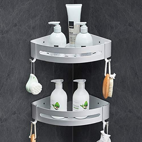 Linkax Porta Shampoo per Doccia, Mensola Angolare Bagno Alluminio, Portaoggetti Doccia Senza Foratura per Bagno, Vieni con 2 Pezzi Mensola Doccia e 4 Ganci, Argento