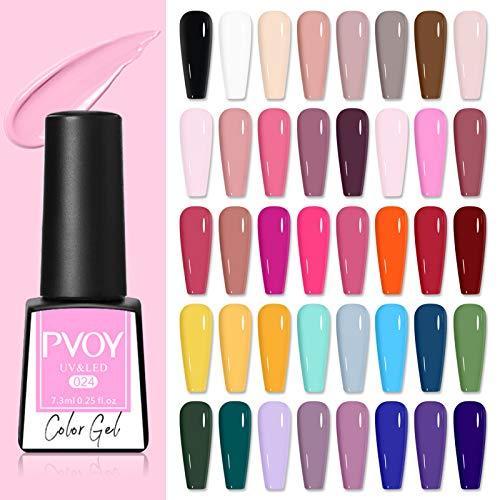PVOY Set di smalti per unghie in gel da 40 colori Soak Off Kit per manicure per gel per unghie in gel UV LED da 7,3 ml Ogni bottiglia