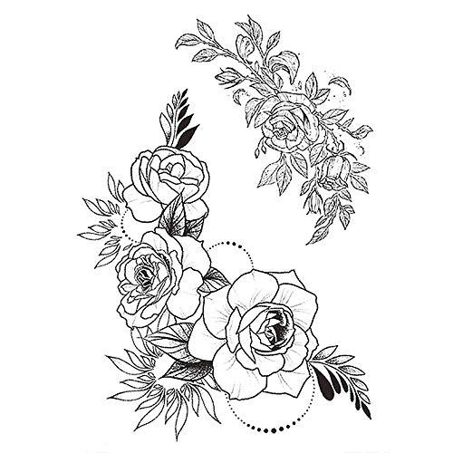 Bryights Tatuaggi Temporanei Bambini Autoadesivo del Tatuaggio Temporaneo per Peonie della Ragazza Disegno Note Musicali Fiori Roses Peonies Tatuaggio Sexy Tatuaggi E Gamba Nero-13.