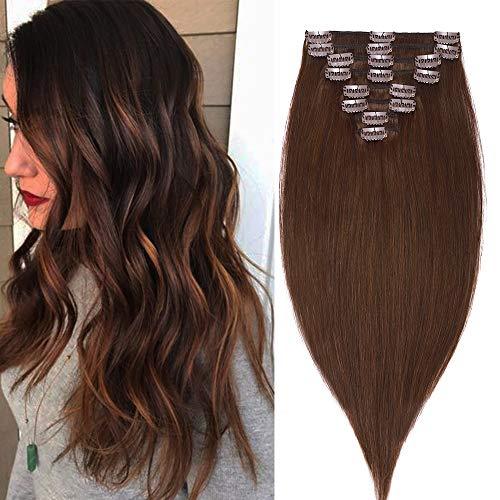 55cm Extension con Clips Capelli Veri Lunghi Lisci Reali Allungamento Parrucca Donna Fashion