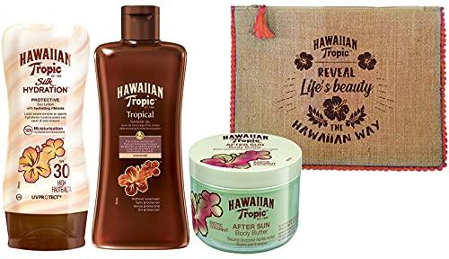 HAWAIIAN Tropic Set Summer con Lozione Silk Hydration SPF 30, Olio Abbronzante Tropicale SPF 0, Doposole Body Butter e Pochette Hawaiian Tropic