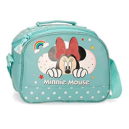 Disney Minnie Rainbow - Beauty case adattabile con tracolla, 25 x 19 x 10 cm