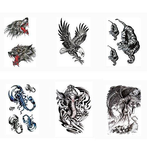 Pinkiou Body Stickers Tatuaggio temporaneo con animali per uomo Braccio gamba Petto posteriore (confezione da 6)
