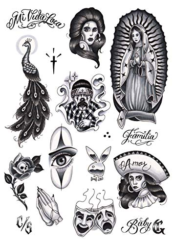 Tatsy Set Chicano, Tatuaggi Temporanei per Uomo e Donna, Tatuaggi Falsi Temporanei per Corpo, Chicano Gangster Lowrider Stile Cultura, Design Unici e Realistici