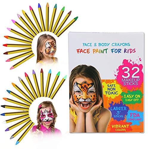 ThinkMax 32 Colori Face Painting Bambini, Matite Trucco Halloween, Sicuro e Non tossico, Ideale per la Festa di Compleanno, Halloween