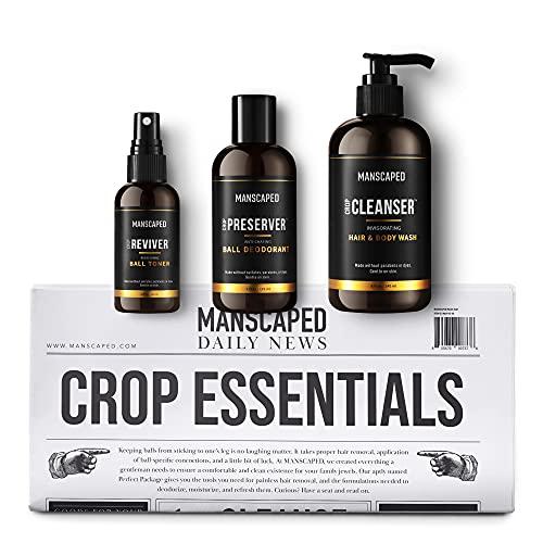 Kit MANSCAPED™ Crop Essentials, Set Igiene Intima Uomo, Set Depilazione Uomo Con Bagnoschiuma Rivitalizzante, Deodorante Intimo Idratante, Tonico Intimo Rinfrescante E Tappetini Per La Rasatura