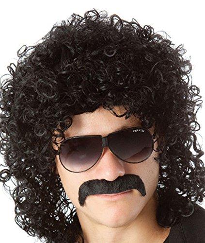 Wicked Costumes - Parrucca da uomo anni '70 '80, parrucca riccia nera stile Mullet, da rockstar