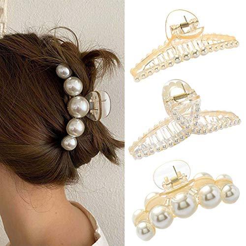 IYOU - Pinza per capelli con perle francesi, in plastica, misura grande, per donne e ragazze, 3 pezzi