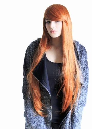 Prettyland C360 - Parrucca Liscia Lunga 85cm Voluminosa in Rosso Rame Arancione Con Frangia Lunga