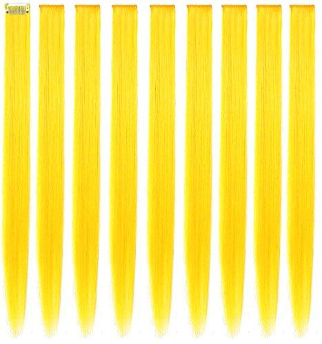 RYH 9 pezzi clip in estensioni dei capelli colorati per ragazze donne pezzi di capelli gialli parrucca per ragazze clip multicolore party hightlight (giallo)