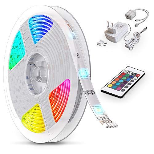 B.K.Licht Striscia a LED 5m RGB, telecomando cambia colore, accorciabile, adesiva, dimmerabile, luci colorate per decorazioni, nastro LED per soggiorno, cucina, camera, IP20
