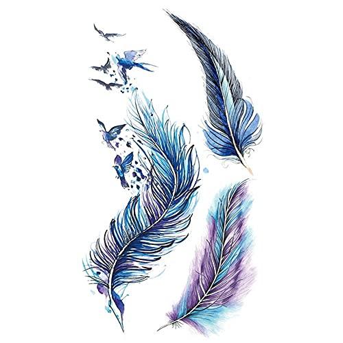 1 foglio di tatuaggi temporanei per il viso adesivi decalcomanie farfalla fiore piuma impermeabile tatuaggio finto adesivo donne ragazze realistico polso caviglia braccio posteriore adesivo tatuaggio