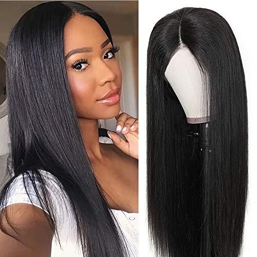 Parrucche lace front parrucca donna lunga capelli veri capelli lisci lace front wigs human hair umani brasiliani vergini(20 inch/50 cm, Colore naturale)