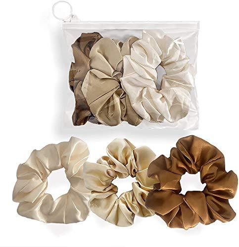 Alisya Scrunchies per capelli Raso – 3 Elastici per capelli donna Light, 1 Pochette Riutilizzabile