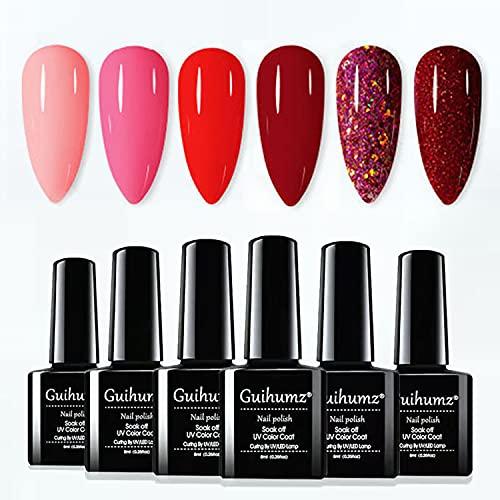 Smalto Semipermanente Per Unghie in Gel UV LED Rosso semipermanente unghie 6 Colori Red Wine Smalti per Unghie 8ml