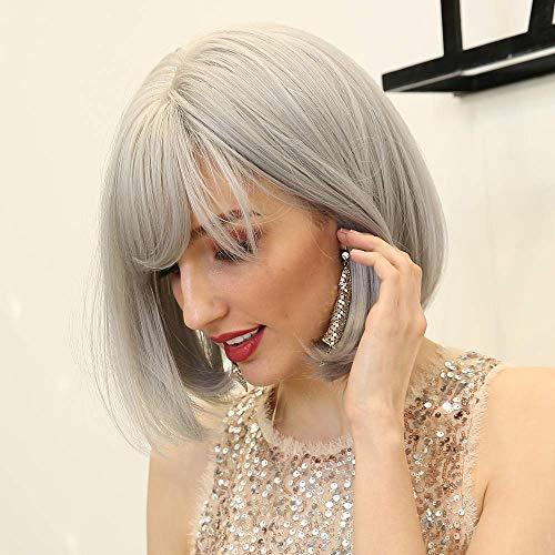 HAIRCUBE Parrucca bianca diritta di media lunghezza Parrucca grigia mista con frangia per le donne Parrucca sfumata Parrucca sintetica naturale per Quotidiano Per feste Cosplay Parrucca per donna…