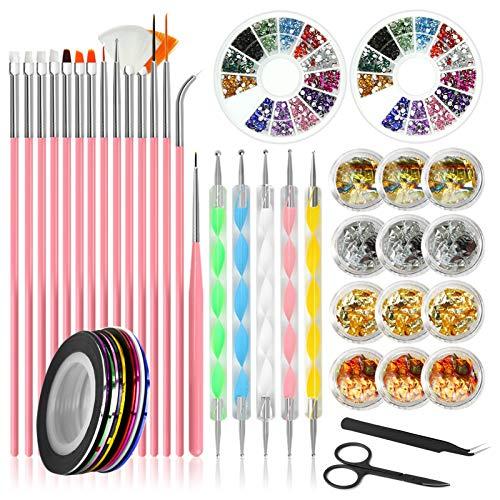 Kit per nail art Canvalite, stilista per unghie con pennelli per unghie 46pcs, strumento per punteggiare le unghie, lamina per unghie, nastri per unghie, strass per unghie colorati