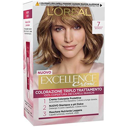L'Oréal Paris Tinta Capelli Excellence, Copre I Capelli Bianchi, Colore Ricco, Luminoso e a Lunga Durata, 7 Biondo