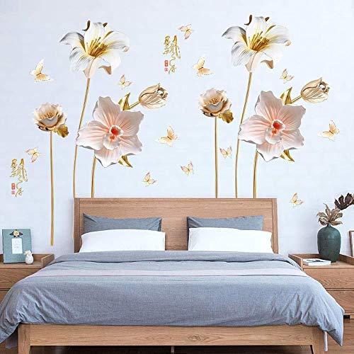 Adesivo Murale Orchidea Decorazione Per La Casa, Tatuaggio Rimovibile In Vinile In Pvc Per La Decorazione Del Soggiorno