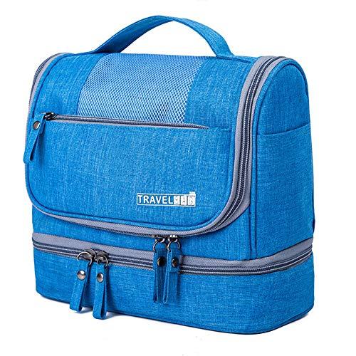 Impermeabile Uomini Appeso Trucco Borsa Borsa Oxford Travel Organizer Cosmetic Bag Per Le Donne Necessari Make Up Case Wash Toiletry Bag-light blue