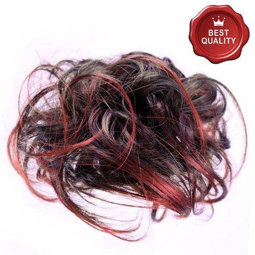 53-401-05 - Elastico capelli sintetici con méches colore Rame - Aspetto naturale - Diametro cm 15 circa e lunghezza ciuffi fino a 14 cm - Elastici capelli finti fermacoda extension (Méches Rame)