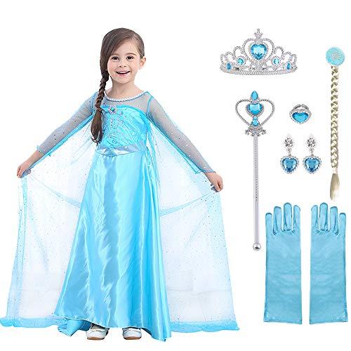 URAQT Elsa Costume, Set da Principessa Elsa Corona Bacchetta Guanti Treccia, Elsa Costume di Cosplay Party Halloween Costume Abito delle Ragazze di Natale Vestito Fantasia,130cm