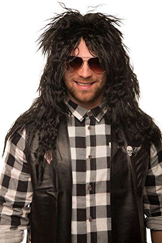 Balinco Parrucca rocker da uomo, capelli lunghi lunghi ricci, Heavy Metal Alice Cooper Rambo Metaler 80