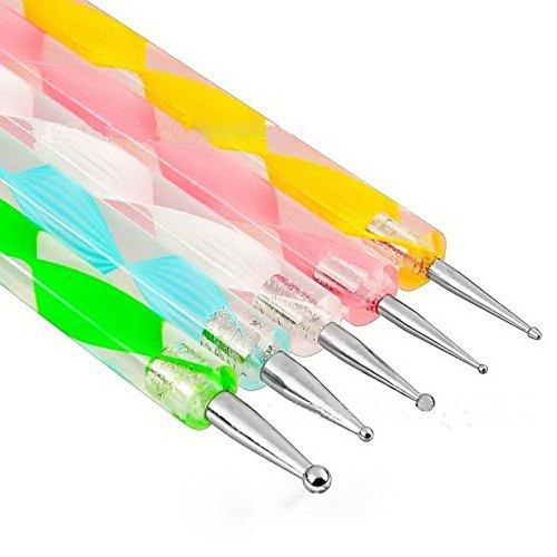 Goliton Penna per punteggiatura per raccoglitore di strass per unghie , Gemme per strass a doppia estremità Cristalli per borchie Penna per cera per nail art Decorazione fai da te (5PCS)