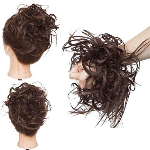 Elailite Chignon Capelli Extension Elastico Posticci Hair Finti Ricci Ponytail Coda Ciambella Finta, Marrone Cioccolato