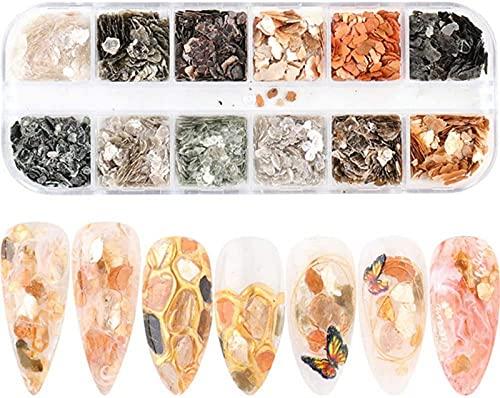 LCJD Decorazione per Nail Art Charms sfumati Luccicanti Mica Marble Nail Stone Paillettes per Unghie Abalone Shell Flake