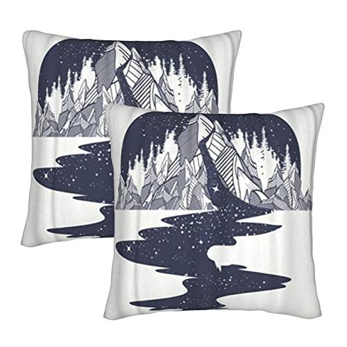 KENADVI Federa per cuscino Fiume di stelle scorre dalle montagne Tatuaggio Spazio infinito Simboli di meditazione Viaggi Turismo Federa decorativa infinita Federa quadrata per casa 20x20 Set di 2