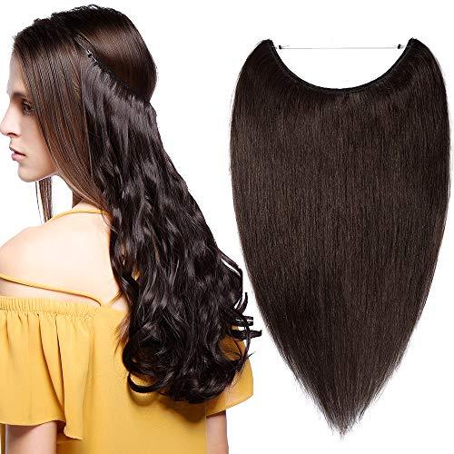 SEGO Extension Capelli Veri Filo Invisibile 40cm Fascia Unica Castano 60g Capelli Umani Naturali 100% Remy Human Hair Lisci #2 Marrone Scuro