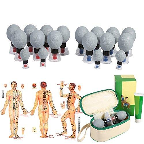 Coppettazione Massaggio Vuoto di Silicone massaggio Corpo di aspirazione di agopuntura moxibustione Coppette Sottovuoto con Pompa per Anticellulite, Viso, Cervicale, Mal di Schiena (12pcs)
