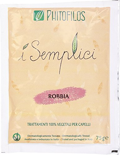 Phitofilos Robbia, Polvere Tintoria Naturale Pura, Riflessi Viola Prugna Porpora (1 x 75 grammi)
