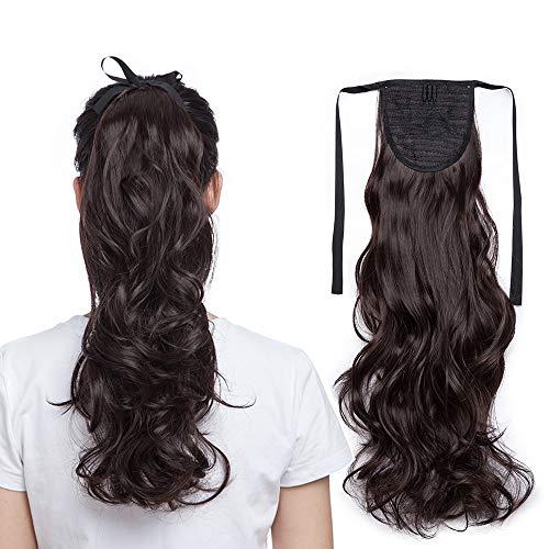 SEGO 45cm Coda Capelli Extension Cavallo Fascia Unica Clip in Hair Mossi Finti Parrucca Ponytail Tie Up 90g - Castano Scuro