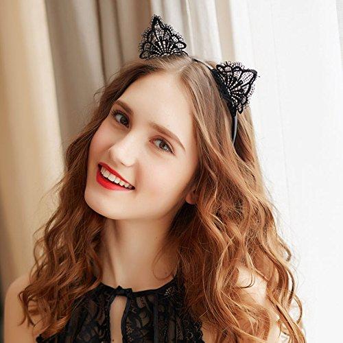 1 fascia per capelli con orecchie di gatto per donne e ragazze, in pizzo, per gatti, orecchie e cerchio, accessorio per feste