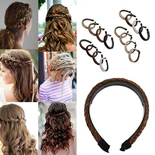 Elailite Capelli Intrecciati su Cerchietto Extension in Treccine Regolabile Fermacoda Posticci Donna Bambina Braiding Hair 47g # Castano